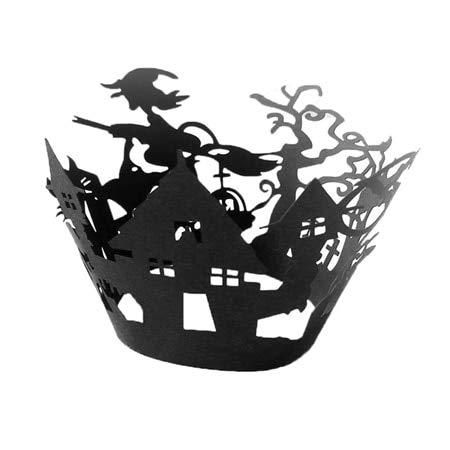 KathShop 12pcs/Set Halloween Decorative Cupcake Wrappers Wraps Case Black Paper Hollow Laser Cut Cake Decor Halloween Party Supplies