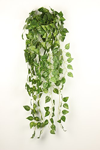 JZHY 2pcs 35.5''Atificial Fake Hanging Vine Plant Leaves Garden for Wedding Home Garden Wall Decor