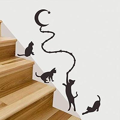 WUQATE Cuatro Gatos con la Luna Etiqueta de la Pared Tallada para la Sala de Estar Escalera decoración del hogar Tatuajes murales Papel Pintado Pegatinas Animales: Amazon.es: Hogar