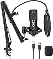USB Microphone for Computer, Budbof PC Microphone Kit for Gaming, Podcast, Streaming, Studio, Broadcasting, Yo