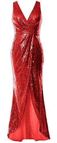 MACloth Women V Neck Sequin Long Bridesmaid Dress Wedding Formal Evening Gown (US8, Red)