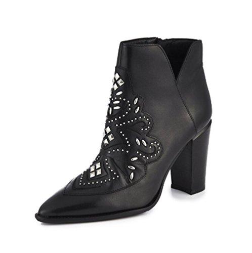 Black Leather 8 Women's Ankle Cowboy 01 Boots UK Embellised 33984 Bronx M zvdw5qSxv