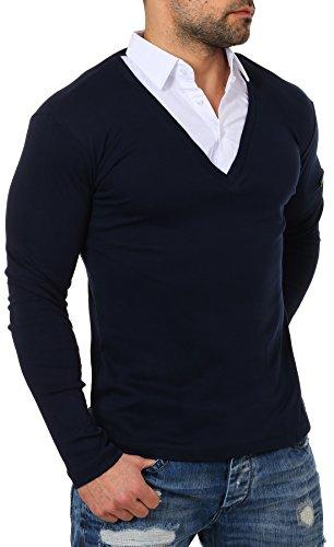 Classique À Col Homme Longues shirt Manches Bleu Foncé Uni T Rerock Chemise Axf7wqBw