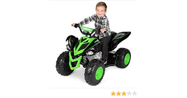 Extra Durable and Safe to Ride 12 Volt Yamaha Raptor Black/Green,Features a  Scaled-Down Design of an Adult-Size ATV,Includes Extra Traction Wheels for