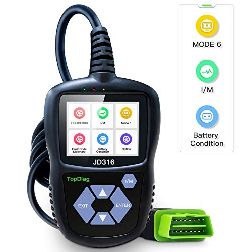 TopDiag JD316 Enhanced Mode 6 OBD2 Scanner Engine Fault Code Reader Diagnostic Scan Tool for Smog Check with Battery Condition Test (Black) (Pass Smog Test With Check Engine Light)