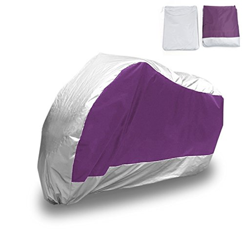 uxcell XXL 180T Rain Dust Motorcycle Cover Purple&Silver Out