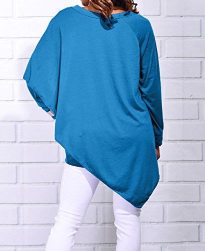 Manches Blouse Couleur Unie Tops Chemisiers Jumpers V Bleu Casual Shirts Longues et Hauts Tunique Col Irregulier Femmes Fashion Automne Tees T Hiver ZAnRgq6ww8