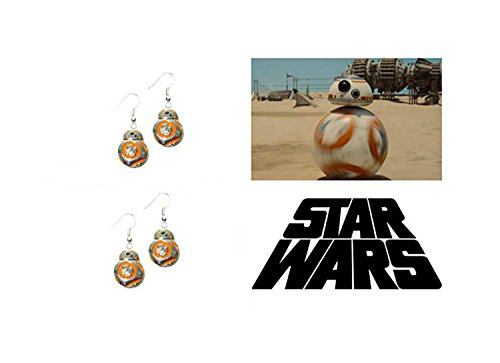 Silver-tone Star Wars BB8 Droids (R2D2, C3PO) Movie/TV Theme Charm Dangle Earrings W/Gift Box -