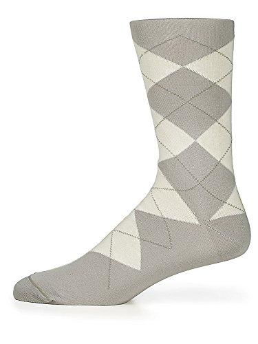 Paul Fredrick Men's Peruvian Pima Cotton Argyle Socks Grey Over The Calf