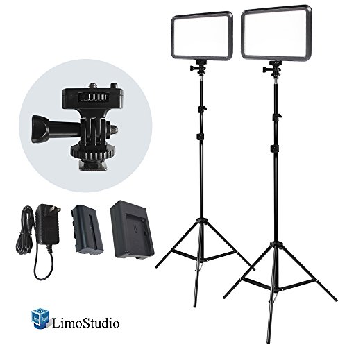LimoStudio [2 Pack] Premium LED Dimmable High Power Panel Digital Camera & Light Stand Tripod, LED Lighting Accessories for Canon, Nikon, Pentax, Panasonic, Sony, Samsung, DSLR Camera, AGG2274 (Pentax Dslr Accessories)