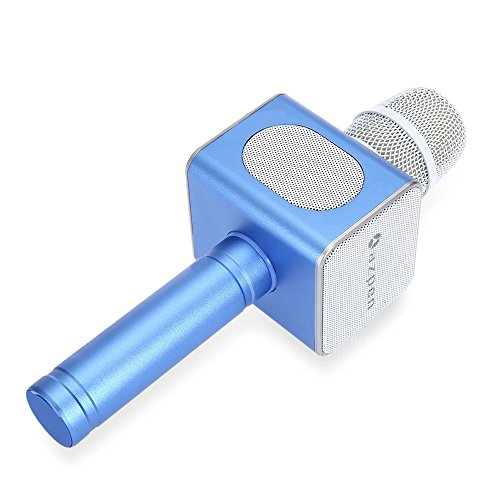 Bluetooth Karaoke Microphone Wireless Speaker Portable KTV Music Playing Machine Mini Home KTV Karaoke for Apple Iphone Android Smartphone or PC by AZPEN,Blue
