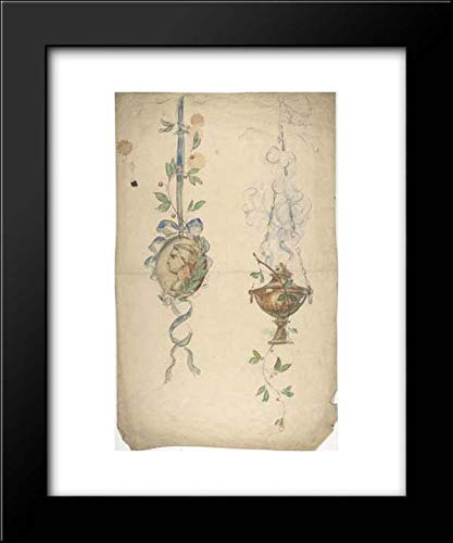 19th Century Urn - Anonymous Artist, British, 19th Century - 15x18 Framed Museum Art Print- Designs for Trophies Containing Medallion and Urn