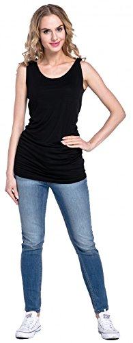 Happy Mama. Mujer top camiseta sin mangas premamá y lactancia doble capa. 516p Negro