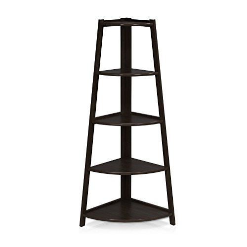 totoshop 5 Tier Shelves Corner Shelf Stand Wood Display Storage Bookcase Home Furniture