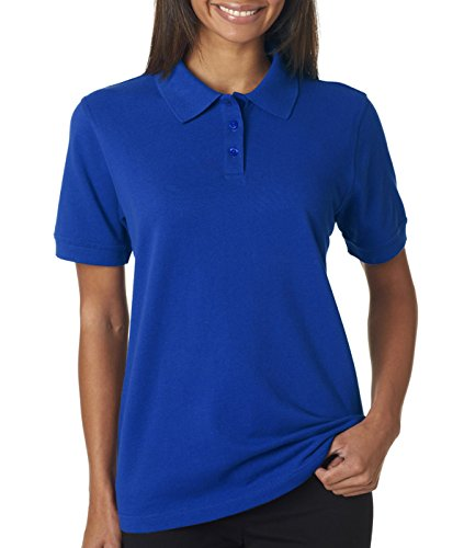 UltraClub Ladies' Classic Pique Cotton Polo, Royal, XL