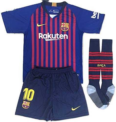 Newkidsjs Barcelona #10 Messi Kids and Youth Soccer Jersey /& Shorts /& Socks 2018-2019 Home Red//Blue 7-8Years//Size 22