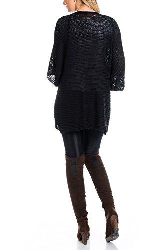 Mujer Legere–Manga Corta de punto chaqueta Cardigan negro