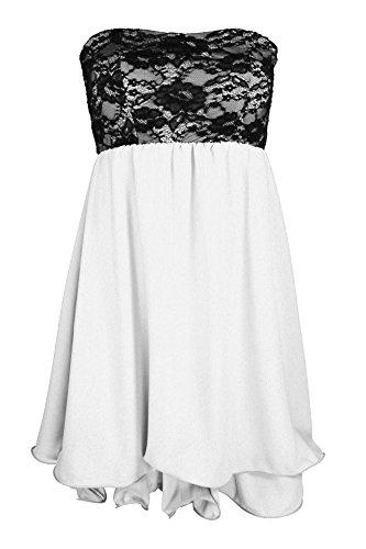 Designer Damen Abendkleid mit Spitze Cocktail Partykleid Sommerkleid Etui Kleid Neu XS S M in meheren Farben Weiß