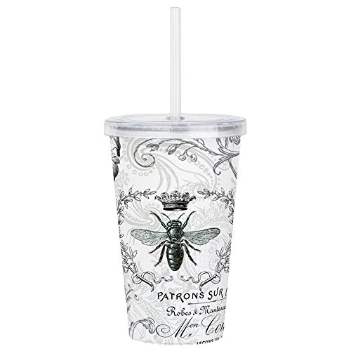 CafePress - Vintage French Shabby Chic Queen Bee Collage Acryl - Insulated Straw Cup, 20oz Acrylic Double-Wall Tumbler