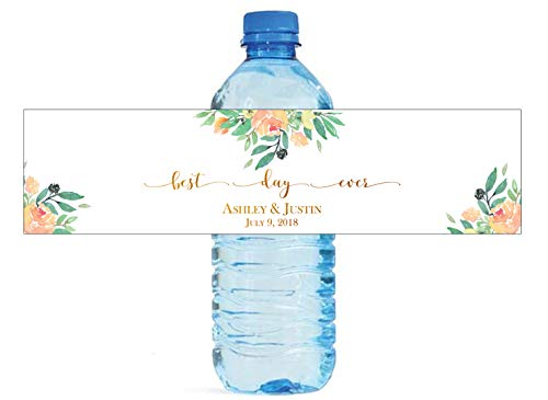 Floral Themed Best Day Ever Water Bottle Labels Great for Wedding Reception, Bridal Shower