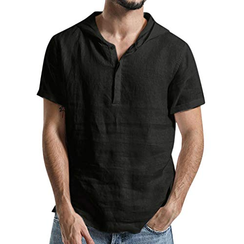 KINGOL Mens Baggy Cotton Linen Shirts Solid Color Hooded Short Sleeve T Shirts Tops Blouse Black