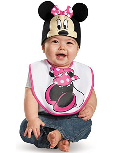 Disguise Baby Girl's Disney Mickey Mouse Pink Minnie Infant Bib and Hat Costume, Pink, 0-6 (Mickey And Minnie Infant Halloween Costumes)