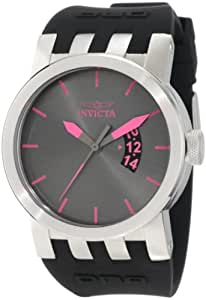 Invicta 46mm Negro Banda De Silicona Caja de acero 10408–Swiss cuarzo esfera analógica gris reloj