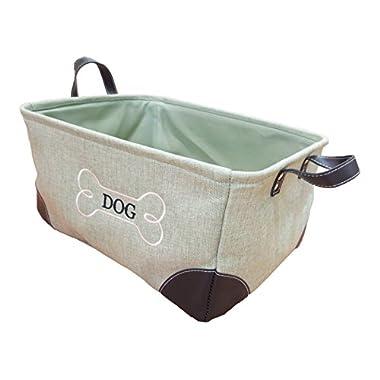 Storage Bin with Printed Dog Bone Leather Handle (Green)