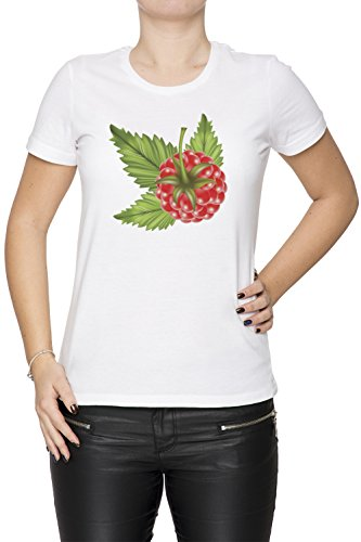 Framboise Blanc Coton Femme T-shirt Col Ras Du Cou Manches Courtes White Women's T-shirt