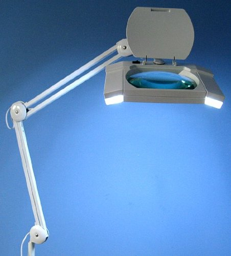XL Kaltlicht Lupenleuchte 2x9W RT-111 mit 190x157mm Glaslinse 5-Dioptrien weiß