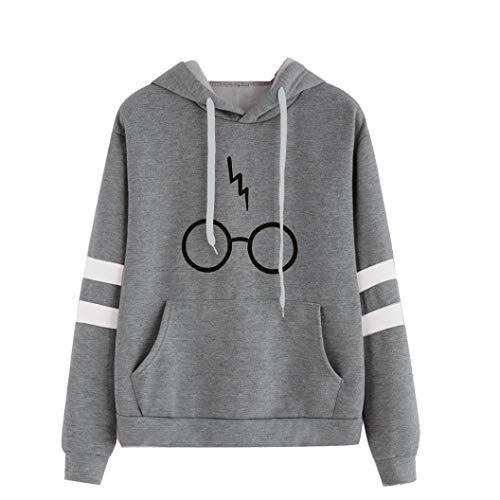 Hoodies maniche Maglione Sweatshirt con Stampare Felpa Giacca Grigio Fami Harry lunghe a Potter Pullover Tops Donna Felpa Manica Autunno Occhiali cappuccio Cappotto Gli Lunga EnxxB0qR