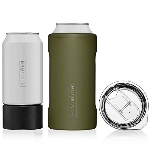 BrüMate HOPSULATOR TRíO 3-in-1 Stainless Steel Insulated Can Cooler, Works With 12 Oz, 16 Oz Cans And As A Pint Glass (OD Green) (Best Beer In Hawaii)