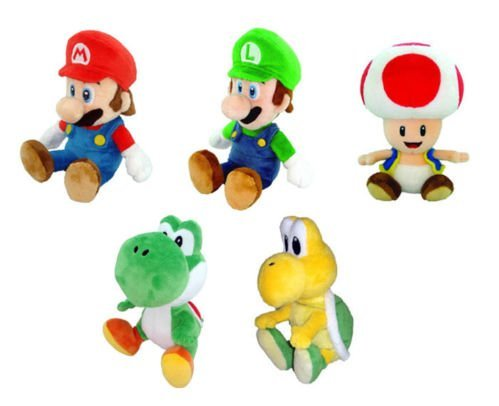 Set of 5 Little Buddy Super Mario Plush - Mario/ Luigi/ Toad/ Yoshi/ Koopa Troopa!