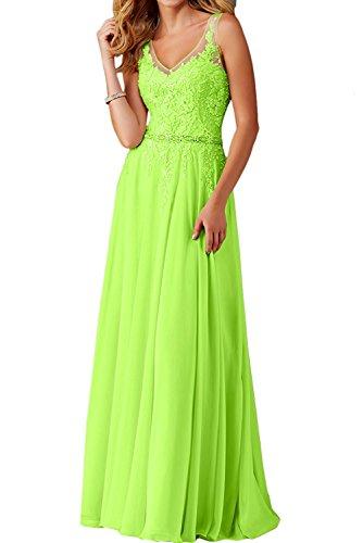 Abendkleider Spitze Festlichkleider Langes Lemon Gruen La Ballkleider V Braut Brautjungfernkleider Ausschnitt Marie Blau vqwH0FnO