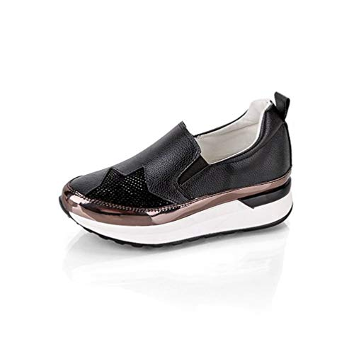 Lambskin Platforms Leather (JOYBI Women Round Toe Platform Loafers Crystal PU Leather Slip-On Comfortable Star Girls Casual Flat Shoes Black)