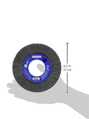 "Osborn 40625SP Abrasive Wheel Brush, 6"" Diameter, 2"" Arbor Hole, 0.022"" Fill Diameter, Crimped Silicon Carbide, 1-1/4"" Trim Length, 1"" Face Width, 3600 Maximum RPM, 320 Grit Size"
