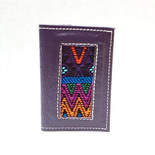Handmade Guatemalan Purple Leather Wallet with Guatemalan fabric made for cards and ID's, bifold, minimalist, for men, and women, slim, flip out