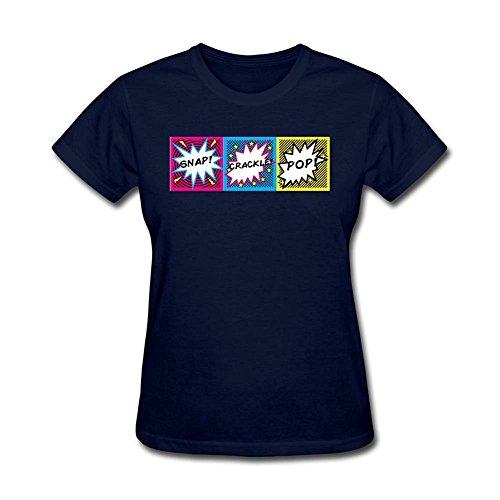 Tommery Women's Snatch at b attack Crackle Pop Logo Design Short Cotton T Shirt