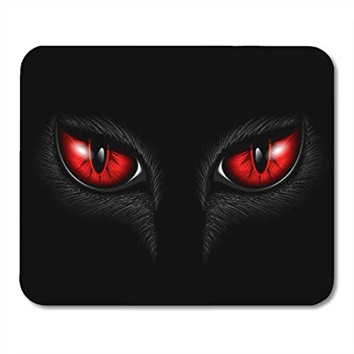 SBD Gaming Mouse Pad Monster Red Cat Eyes Evil Black Scary Animal Halloween Eyeball 7.18.7 Inches Decor Office Nonslip Rubber Backing Mousepad Mouse Mat -