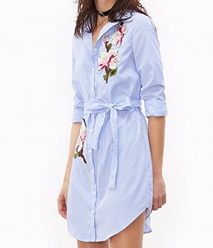 Mini Striped As1 Coolred Applique Long Dress Shirt Mid Womens Irregular 0qtqwZC