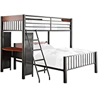 Homelegance Division Metal Twin/Full Loft Bed with Desk, Gray