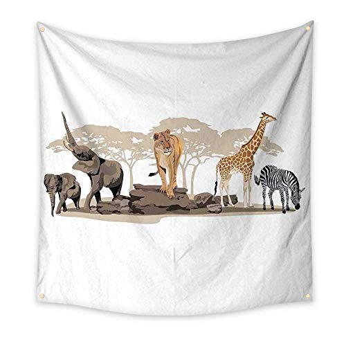 Safari Dorm Room Tapestry Illustration of Wild Savannahs African Animals Exotic Giraffe Lion Elephant Zebra Floral Wall Tapestry Multicolor 70W x 70L Inch
