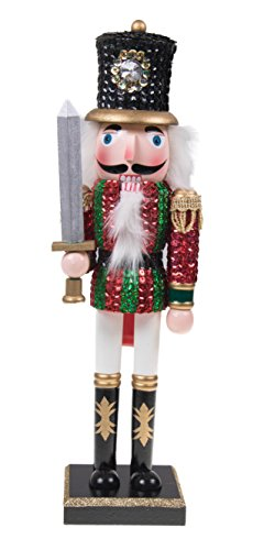 Traditional Wooden Sequin Soldier Nutcracker with Sword by Clever Creations | Red and Green Uniform | Festive Christmas Decor | 14