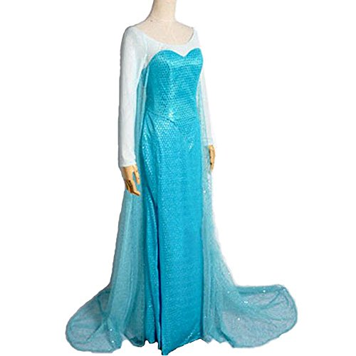 [8015 - Disney Frozen Queen Elsa Adult Woman Gown Cosplay Dress Blue (M)] (Elsa Dress Women)