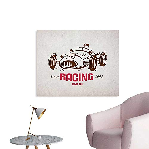 Anzhutwelve Cars Wall Picture Decoration Retro Style Race Car Emblem Formula Automobile Icon Speed Competition Cool Poster Chesnut Brown Pink White W48 -