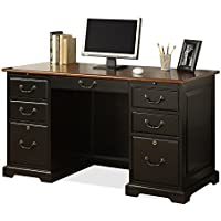 Riverside Furniture Bridgeport 54 Flat Top Desk in Antique Black