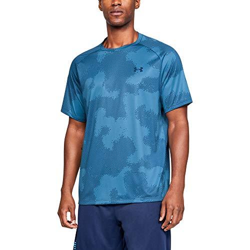 Under Armour Tech Short sleeve Printed 2.0, Petrol Blue//Thunder, Large ()