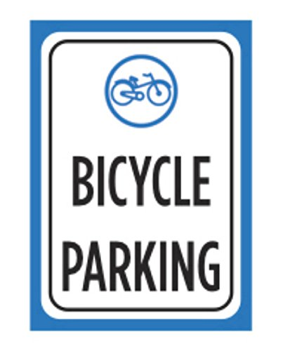 Bicycle Parking Print Blue Black White Poster Bike Picture Symbol Notice Outdoor Street Road Sign - Black Poster Print