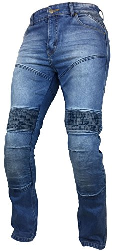 (Fashio Men's Denim Motorcycle Motorbike Sports Jeans Protective Lined Armoured Blue K-02 W40-L30 )