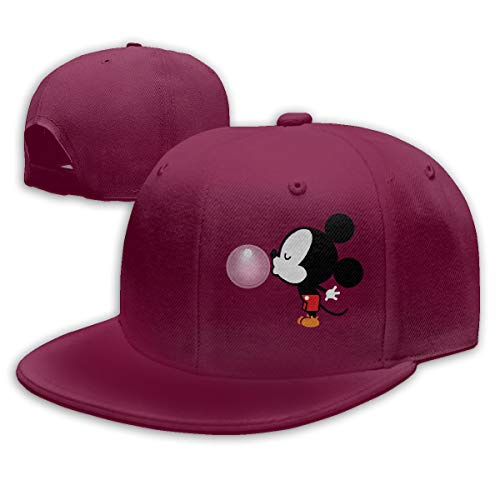 Sakanpo Balloon Mickey Mouse Flat Visor Baseball Cap, Fashion Snapback Hat Dark Red -